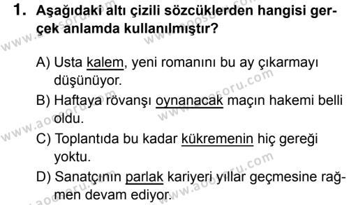 Türkçe 7 Dersi 2018 - 2019 Yılı 1. Dönem Sınavı 1. Soru