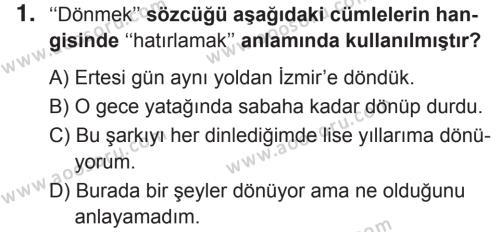 Türkçe 7 Dersi 2018 - 2019 Yılı 2. Dönem Sınavı 1. Soru