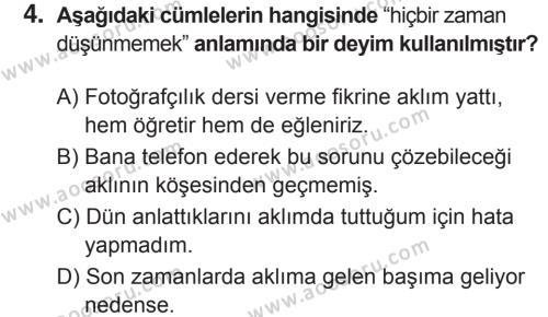 Türkçe 7 Dersi 2018 - 2019 Yılı 2. Dönem Sınavı 4. Soru