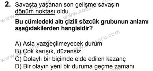 Türkçe 7 Dersi 2018 - 2019 Yılı 3. Dönem Sınavı 2. Soru