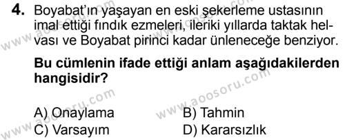 Türkçe 7 Dersi 2018 - 2019 Yılı 3. Dönem Sınavı 4. Soru