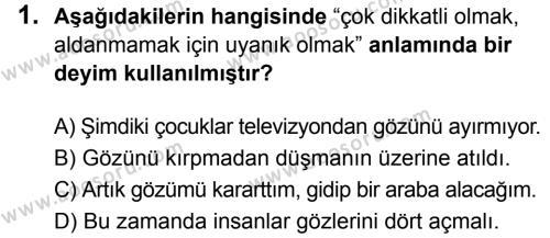 Türkçe 7 Dersi 2019 - 2020 Yılı 1. Dönem Sınavı 1. Soru
