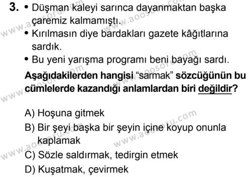 Türkçe 7 Dersi 2019 - 2020 Yılı 1. Dönem Sınavı 3. Soru