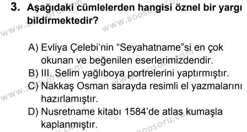 Türkçe 8 Dersi 2011 - 2012 Yılı 2. Dönem Sınavı 3. Soru