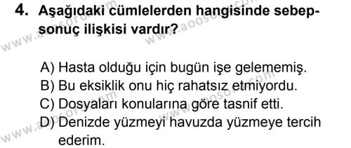 Türkçe 8 Dersi 2011 - 2012 Yılı 2. Dönem Sınavı 4. Soru