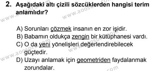 Türkçe 8 Dersi 2011 - 2012 Yılı 3. Dönem Sınavı 2. Soru
