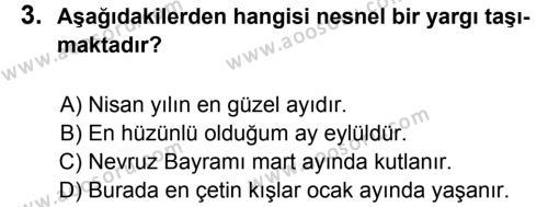 Türkçe 8 Dersi 2011 - 2012 Yılı 3. Dönem Sınavı 3. Soru