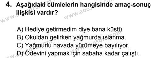 Türkçe 8 Dersi 2011 - 2012 Yılı 3. Dönem Sınavı 4. Soru