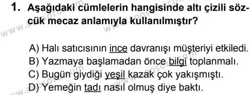 Türkçe 8 Dersi 2012 - 2013 Yılı 1. Dönem Sınavı 1. Soru