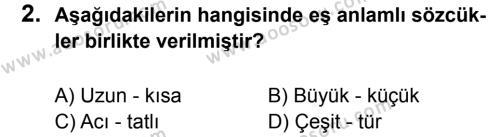 Türkçe 8 Dersi 2012 - 2013 Yılı 1. Dönem Sınavı 2. Soru