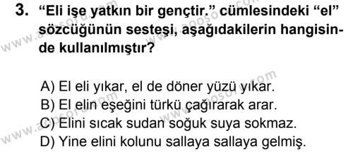Türkçe 8 Dersi 2012 - 2013 Yılı 1. Dönem Sınavı 3. Soru