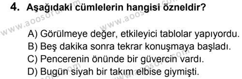 Türkçe 8 Dersi 2012 - 2013 Yılı 1. Dönem Sınavı 4. Soru
