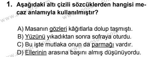Türkçe 8 Dersi 2012 - 2013 Yılı 2. Dönem Sınavı 1. Soru