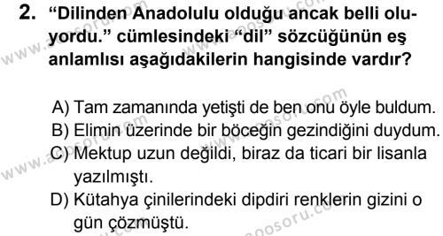 Türkçe 8 Dersi 2012 - 2013 Yılı 2. Dönem Sınavı 2. Soru
