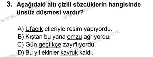 Türkçe 8 Dersi 2012 - 2013 Yılı 2. Dönem Sınavı 3. Soru