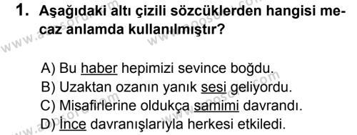 Türkçe 8 Dersi 2012 - 2013 Yılı 3. Dönem Sınavı 1. Soru