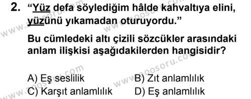 Türkçe 8 Dersi 2012 - 2013 Yılı 3. Dönem Sınavı 2. Soru