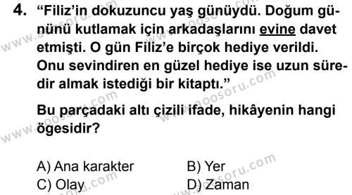 Türkçe 8 Dersi 2012 - 2013 Yılı 3. Dönem Sınavı 4. Soru