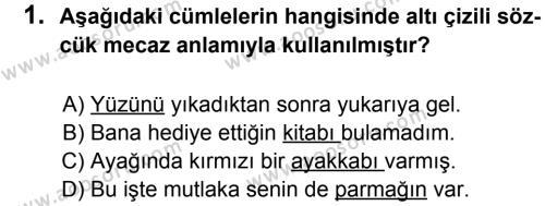 Türkçe 8 Dersi 2013 - 2014 Yılı 1. Dönem Sınavı 1. Soru