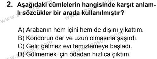 Türkçe 8 Dersi 2013 - 2014 Yılı 1. Dönem Sınavı 2. Soru