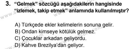 Türkçe 8 Dersi 2013 - 2014 Yılı 1. Dönem Sınavı 3. Soru