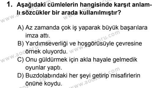 Türkçe 8 Dersi 2013 - 2014 Yılı 2. Dönem Sınavı 1. Soru