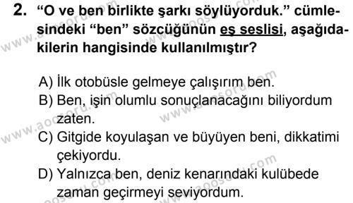 Türkçe 8 Dersi 2013 - 2014 Yılı 2. Dönem Sınavı 2. Soru