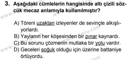 Türkçe 8 Dersi 2013 - 2014 Yılı 2. Dönem Sınavı 3. Soru