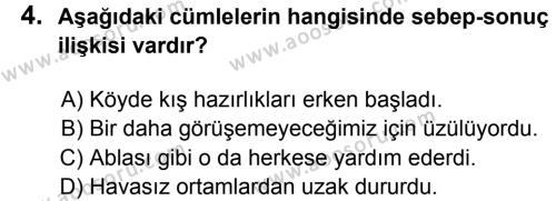 Türkçe 8 Dersi 2013 - 2014 Yılı 2. Dönem Sınavı 4. Soru