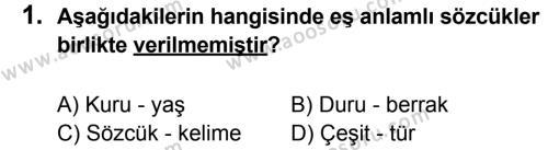 Türkçe 8 Dersi 2013 - 2014 Yılı 3. Dönem Sınavı 1. Soru