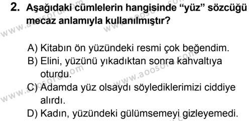 Türkçe 8 Dersi 2013 - 2014 Yılı 3. Dönem Sınavı 2. Soru