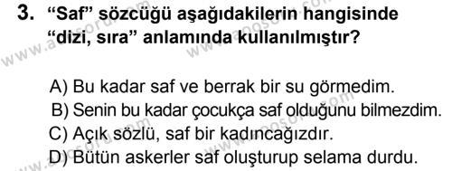 Türkçe 8 Dersi 2013 - 2014 Yılı 3. Dönem Sınavı 3. Soru