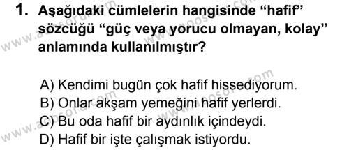 Türkçe 8 Dersi 2014 - 2015 Yılı 1. Dönem Sınavı 1. Soru