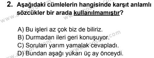 Türkçe 8 Dersi 2014 - 2015 Yılı 1. Dönem Sınavı 2. Soru