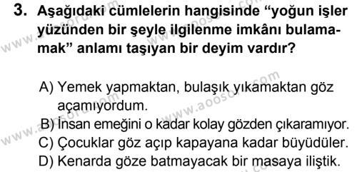 Türkçe 8 Dersi 2014 - 2015 Yılı 1. Dönem Sınavı 3. Soru