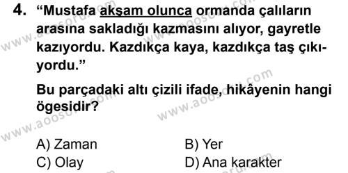 Türkçe 8 Dersi 2014 - 2015 Yılı 1. Dönem Sınavı 4. Soru