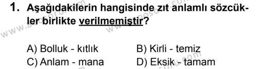 Türkçe 8 Dersi 2014 - 2015 Yılı 2. Dönem Sınavı 1. Soru