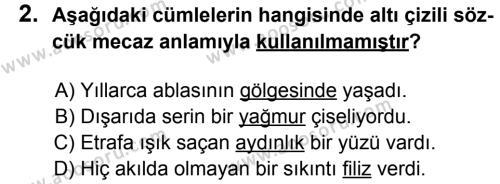 Türkçe 8 Dersi 2014 - 2015 Yılı 2. Dönem Sınavı 2. Soru