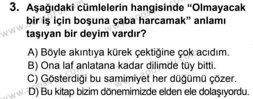 Türkçe 8 Dersi 2014 - 2015 Yılı 2. Dönem Sınavı 3. Soru