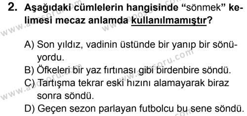 Türkçe 8 Dersi 2014 - 2015 Yılı 3. Dönem Sınavı 2. Soru
