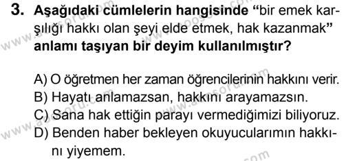 Türkçe 8 Dersi 2014 - 2015 Yılı 3. Dönem Sınavı 3. Soru
