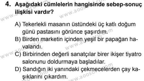 Türkçe 8 Dersi 2014 - 2015 Yılı 3. Dönem Sınavı 4. Soru