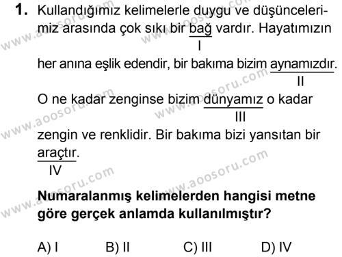 Türkçe 8 Dersi 2015 - 2016 Yılı 1. Dönem Sınavı 1. Soru