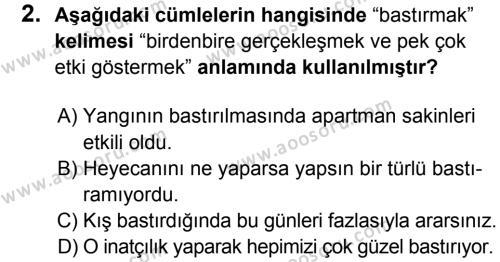 Türkçe 8 Dersi 2015 - 2016 Yılı 1. Dönem Sınavı 2. Soru