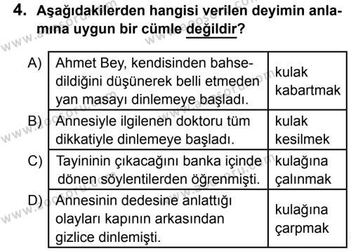 Türkçe 8 Dersi 2015 - 2016 Yılı 1. Dönem Sınavı 4. Soru