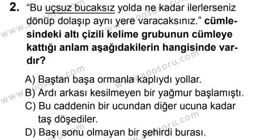Türkçe 8 Dersi 2015 - 2016 Yılı 3. Dönem Sınavı 2. Soru