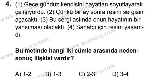 Türkçe 8 Dersi 2015 - 2016 Yılı 3. Dönem Sınavı 4. Soru