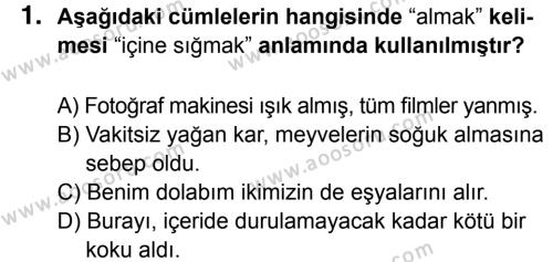 Türkçe 8 Dersi 2016 - 2017 Yılı 2. Dönem Sınavı 1. Soru