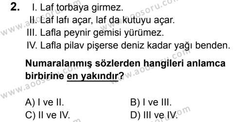 Türkçe 8 Dersi 2016 - 2017 Yılı 2. Dönem Sınavı 2. Soru