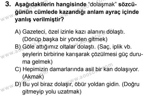 Türkçe 8 Dersi 2016 - 2017 Yılı 3. Dönem Sınavı 3. Soru